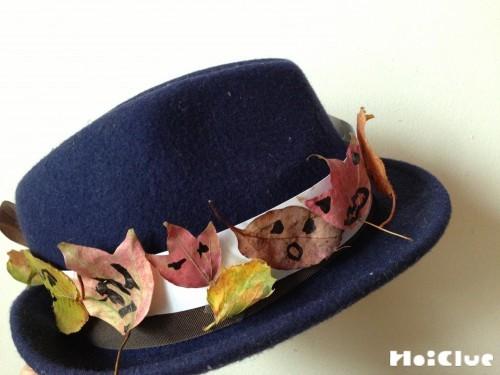 帽子に落ち葉を飾った写真