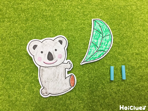 コアラとユウカリの絵を描いて切り取った写真