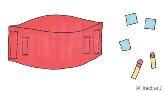 縦半分にした画用紙を貼り合わせるイラスト
