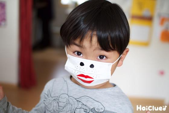 鼻の穴と唇とひげのついたマスクをした写真