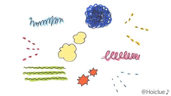 点線や螺旋など色々な種類の線を描いたイラスト