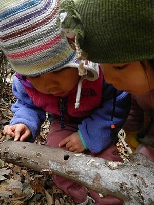 子ども二人で覗き込んでいる写真