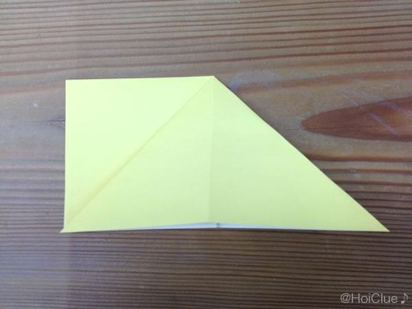 片側を開いて三角にした写真