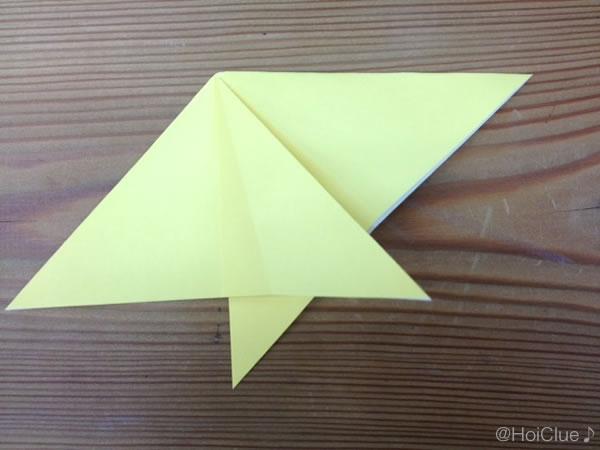 反対側の端を三角に開いた写真