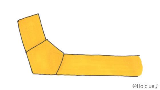 紙テープの端を折ったイラスト