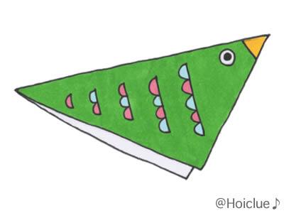 二つ折りにし三角にした紙に鳥の絵を描いたイラスト