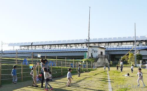 河川敷で遊ぶ子どもたちの様子