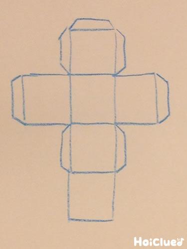 画用紙にサイコロの展開図を描いた写真