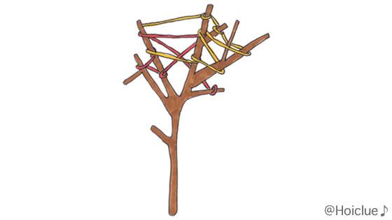 小枝に毛糸を巻きつけたイラスト