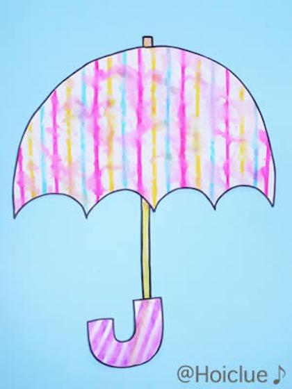 にじいろ傘~雨を使って作る、にじみ絵の傘~