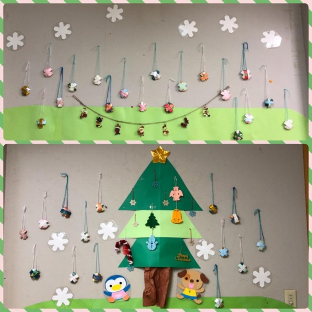【アプリ投稿】12月壁面 雪のクリスマスオーナメント