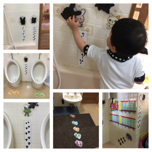 【アプリ投稿】2歳児トイレ内に並ぶことが出来るよう、足跡を貼りました。