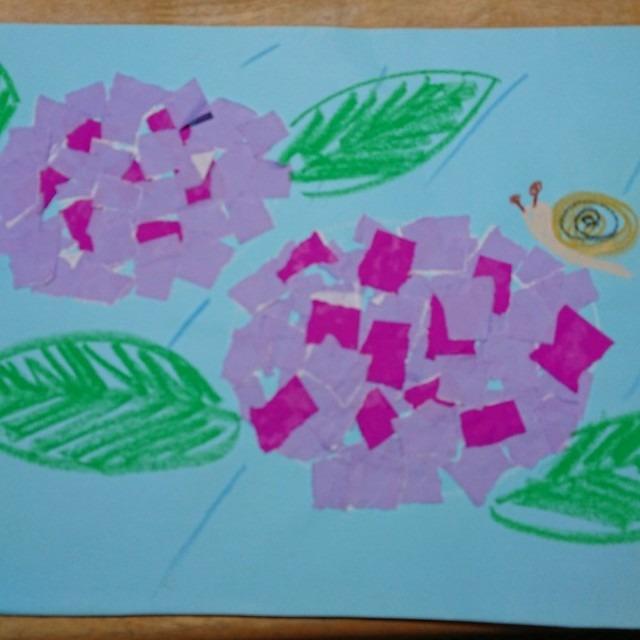 【アプリ投稿】折り紙をちぎってアジサイ