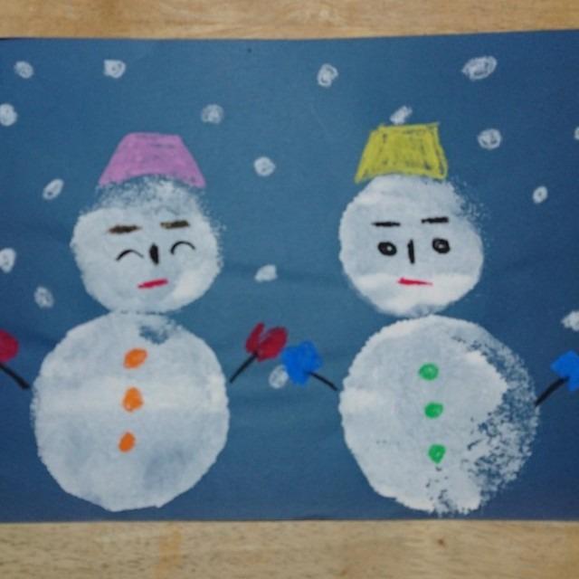 【アプリ投稿】スポンジで雪だるま