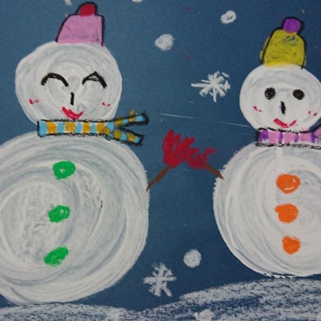 【アプリ投稿】白い絵の具でグルグル丸に塗って雪だるま⛄