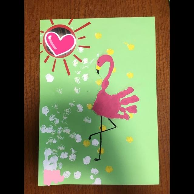 【アプリ投稿】0歳児。手形アートでフラミンゴ。