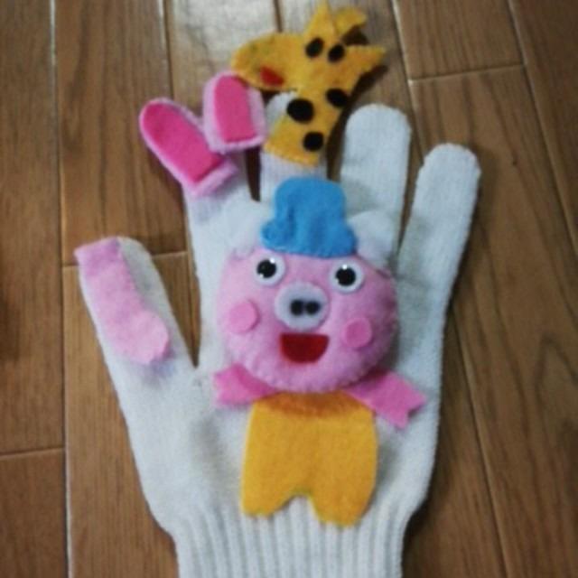 【アプリ投稿】ぶたの散歩の手遊びの手袋シアター
