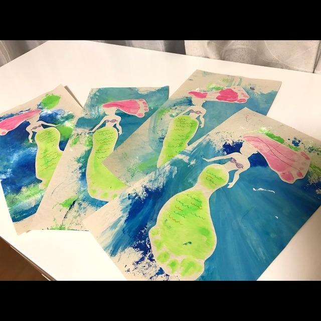 【アプリ投稿】足形アート×フィンガーペイントの海