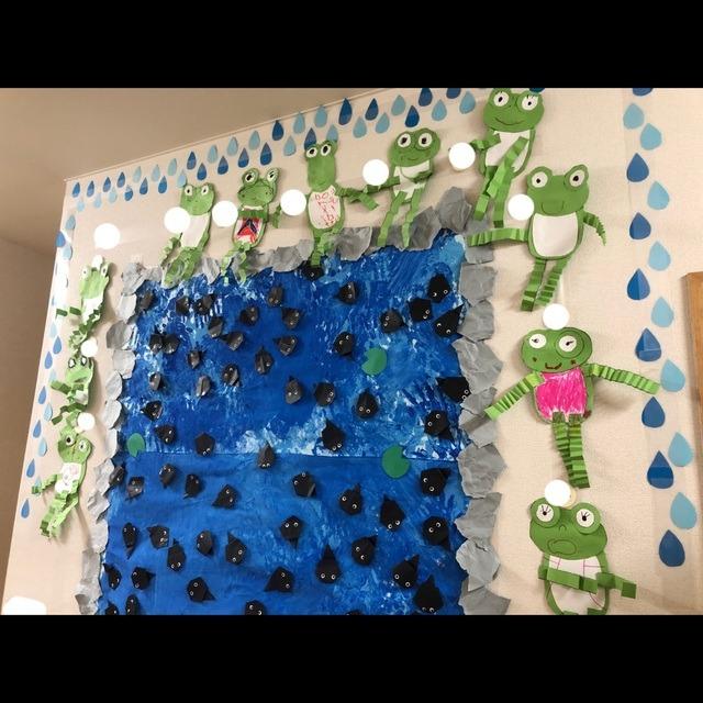 【アプリ投稿】4歳児6月壁面製作 おたまじゃくしの101ちゃん(絵本)