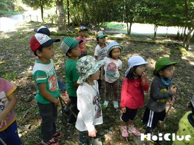 木の前で話を聞く子どもたちの様子