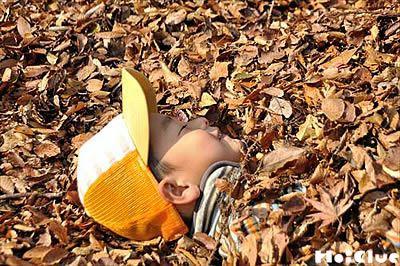 枯葉に埋まる子どもの写真