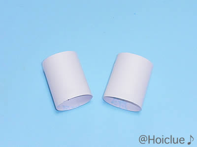 トイレットペーパーの芯を二つに切った写真