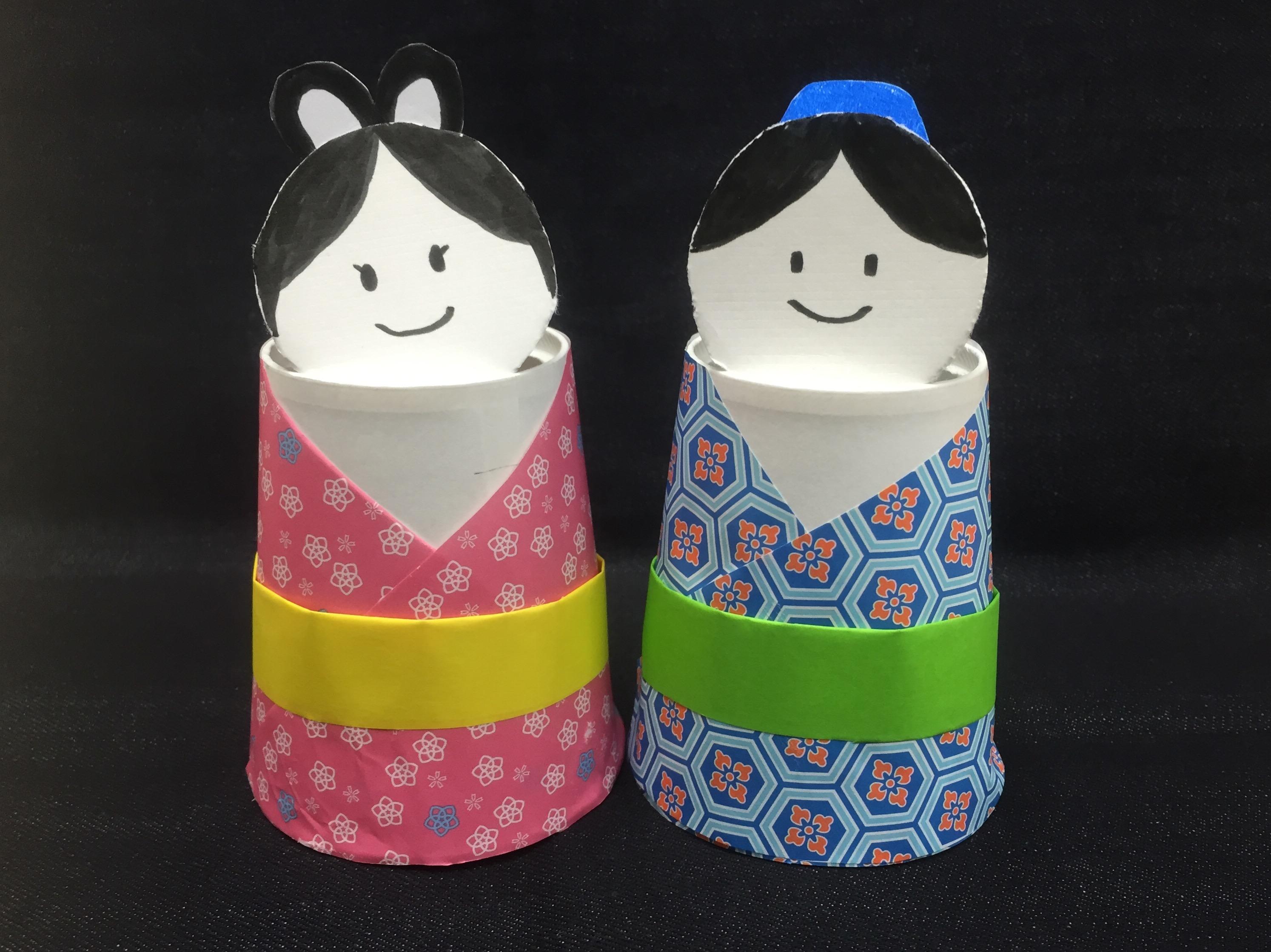 おりひめとひこぼしの紙コップ人形〜少ない材料で楽しめる製作遊び〜