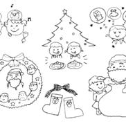 クリスマスにちなんだイラスト(おたよりカット・挿し絵)