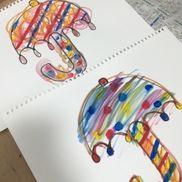 【カラフルな傘】・4歳児・画用紙、絵の具、水、筆・梅雨