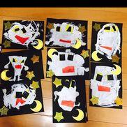 【おばけ】✔︎3,4,5歳児✔︎夏✔︎準備物白の絵の具 筆 折り紙(黄色 黒 赤)布シール(手)好きな形におばけを描いてもらった後、目と口を折り紙でちぎって貼り付けました!