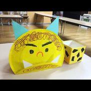 【鬼のお面、豆の箱】・4歳児・節分・紙皿、色画用紙、牛乳パック、折り紙