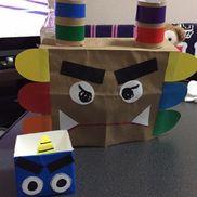 鬼のお面とます満3歳児[お面]紙袋、トイレットペーパーの芯、折紙、画用紙[ます]牛乳パック、折紙、画用紙
