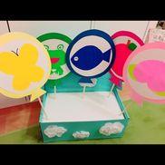 【ふうせんの歌】1.2歳児ペープサートを立てる箱はスニーカーの箱を使用しました!中に発泡スチロールを詰めて雲と太陽(隠れてますが)は花紙を使用して作りました(*'-'*)