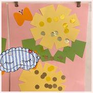 4月の製作 2歳児【タンポポ】タンポポの形に切った画用紙に黄色の金色の丸シールを子ども達が張る。葉っぱは黄緑の画用紙に絵の具スタンプで子ども達が色付けたものをこちらが葉っぱの形に切って張る。進級して初めての製作となるため、作る過程を減らしたぶんどこまで出来るかを確認出来る製作だと思います。