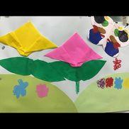 *5歳児*✩デカルトコマニー技法✩・白い画用紙(ちょうちょの形)・折り紙(チューリップは子ども達で折る)    (葉っぱは保育士が折り紙に葉っぱの形を描き子ども達で切る)・はさみ・のり・クレヨン