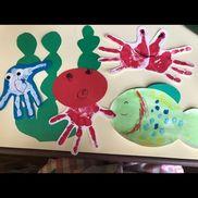 海の生き物3歳児手形→くらげ、たこ、カニはじき絵→魚