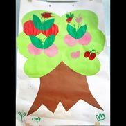 *5歳児*✩滲み絵✩・コーヒーフィルター(さくらんぼの形)    (絵の具は保育士が用意し子ども達でコーヒーフィルターに筆で水を染み込ませて絵の具を垂らす)・折り紙(葉っぱ)    (葉っぱは保育士が折り紙に葉っぱの形を描き子ども達で切る)・画用紙(葉・木)    (葉と木は保育士が形を描き子ども達で切る)・はさみ・のり・クレヨン