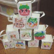 豆入れ2歳児牛乳パック・折り紙・画用紙・リボン・マスキングテープ