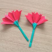 「母の日」カーネーション折り紙○赤3枚○緑1枚