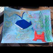 マーブリング5歳夏画用紙、マーブリングセット、クレヨン、折り紙