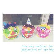 ・3歳児・節分・紙皿、毛糸、画用紙、花紙