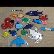 「魚釣り」磁石 クリップ画用紙ラミネート