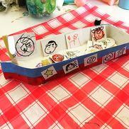 牛乳パックで船のおもちゃ作り