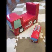 【消防車】牛乳パック新聞布テープ画用紙透明テープ