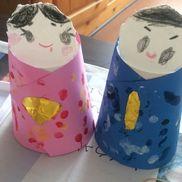 指でペタペタひな祭り紙コップクレヨン絵の具折り紙色画用紙3歳児