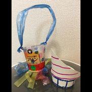 ☆水遊びおもちゃ☆ヨット&ジョウロです。ジョウロは、容器の底に穴を開けています。シールははがれないように、セロテープを上から貼っています!