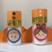 七夕飾りロケット飾り(エアーパッキング、トイレットペーパーの芯、すずらんテープ、色画用紙、キラキラテープなど)