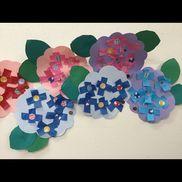 あじさい年中葉っぱ→予め線で葉の形を描き、ハサミで切る(子ども)花の形→保育者 花→紙テープを2回折り、自分で切る      〇パンチを渡し、十字にして、糊付け