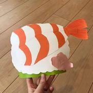 【お寿司のお面】色画用紙、輪ゴム、ケント紙、厚紙