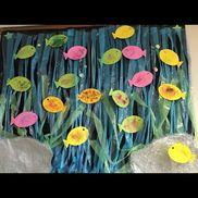 1歳児。8月の壁面製作。魚の形に切った紙にクレパスでなぐり書きし、その上に絵の具をぬり、弾き絵をしました。スズランテープで海や海藻を表現しました。
